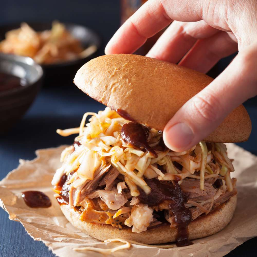 Homemade pulled pork burger with coleslaw bbq sauce 1