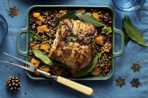 Roasted christmas ham with pomegranate lentils food photography min
